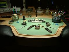 Ex-Anthrax Guitarist Turned Master Watchmaker Designs an Ergonomic Workbench - Core77 Jewelers Workbench, Clock Repair, Farms Living, Types Of Furniture, Poker Table, Decoration, How To Fall Asleep, Cool Things To Buy, Workbenches
