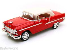 1955 Chevy Bel Air Convert Red/White 1:18 Scale By Motormax NEW Item #MM73184-RD