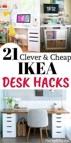 21 Awe-Inspiring Ikea Desk Hacks that are Affordable and Easy Buying a nice desk doesn't have to be expensive. Get inspired by these 20 budget friendly and gorgeous DIY Ikea desk hacks for your workspace Diy Crafts Desk, Craft Room Desk, Diy Desk, Craft Rooms, Diy Interior, Interior Design, Cheap Ikea Desk, Hack Ikea, Desk Hacks