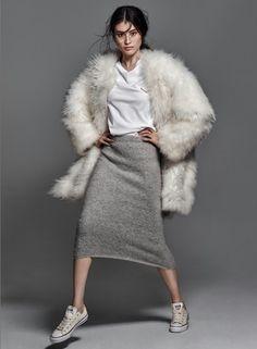 white fur coat, tee, midi skirt & converse sneakers #style #fashion #editorial