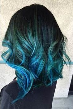 Check Out Our , Blue On Black Hair, 24 Inspiring Teal Hair Ideas to Stand Out In the Crowd, Hairstyles Blue Ombre Hair Color Creative Emerald Green Ombré Hair. Teal Ombre Hair, Hair Color Blue, Teal Hair Highlights, Blue Hombre Hair, Turquoise Highlights, Funky Hair Colors, Blue Green Hair, Aqua Hair, Violet Hair