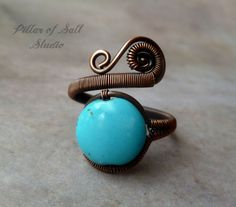 Wire wrapped ring / adjustable ring Boho by PillarOfSaltStudio