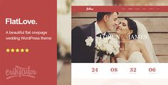 FlatLove - Flat Onepage Wedding WordPress Theme FlatLove is a onepage responsive wedding WordPress theme, ideal for creative couples, to showcase their marriage event in a clean and elegant flat design style.