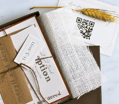 Wheat Stalk - Rustic, Chic, & Natural Boxed Wedding Invitation - Burlap, Twine - Purchase for a Sample. $14.50, via Etsy.