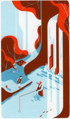 People fishing by a waterfall illustration by Tom Haugomat
