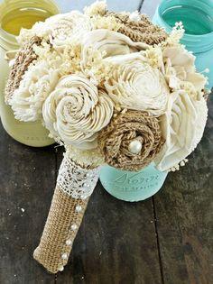 Custom Wedding Bouquet, burlap flowers, 2014 Beach Wedding Burlap Flowers www.loveitsomuch.com