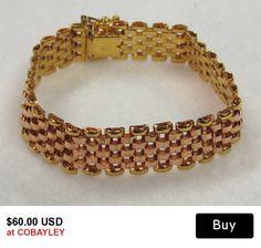Vintage Panther Link Bracelet Milor Italy Sterling Silver with Gold Wash