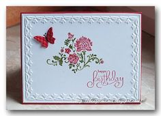 Fresh Vintage by Bengelmama - Cards and Paper Crafts at Splitcoaststampers Birthday Cards For Women, Handmade Birthday Cards, Happy Birthday Cards, Butterfly Cards, Flower Cards, Sympathy Card Sayings, Embossed Cards, Diy Cards, Xmas Cards