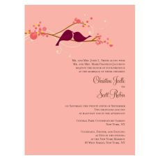 Pink Love Birds Wedding Invitations - Pink Frosting Wedding Invitations