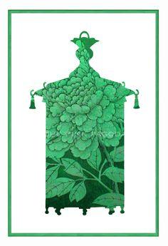 Green Chinoiserie Lantern Giclee 13x19. $45.00, via Etsy.