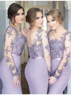 d0c7648752a Long Sleeves Mermaid Scoop Lilac Custom Bridesmaid Dresses
