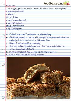 Feijoa Oaty Slice // must try! Fejoa Recipes, Kiwi Recipes, Egg Free Recipes, Sweet Recipes, Baking Recipes, Healthy Recipes, Healthy Food, Healthy Eating, Gluten Free Baking