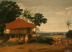 frans post - paysage brésilien avec maison de travailleur, c. 1655, oil on canvas.