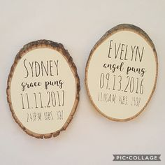 Round Wood Baby Name Sign, Personalized Baby Gift, Newborn Stats, Woodland Nursery Decor, Baby Shower Gift, Wood Slice Sign, Christmas Gift, Twins, Twin Nursery