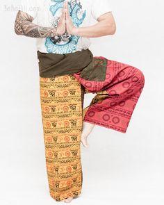 Women's Thai Fisherman Pants Wrap Around Fold Over Waist Yoga Trousers – BohoHill Yoga Trousers, Harem Pants, Thai Fisherman Pants, Hippie Pants, Ideal Fit, Drop Crotch, Small Waist, Ethnic Fashion, Workout Wear