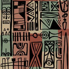 Items similar to tiki Modern textile art, Wall decor, Mid Century Modern Art Print Poster Vintage Retro on Etsy Wallpaper Stencil, Retro Wallpaper, Retro Poster, Vintage Posters, Print Poster, Mural Wall Art, Wall Art Decor, Tiki Art, Tiki Tiki