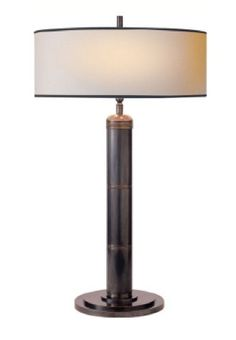 """Longacre Tall Table Lamp in Bronze with Natural Paper Shade 20""""w x 32.5""""h Also Available in Rubbed Brass, Polished Nickel, and Polished Silver"""