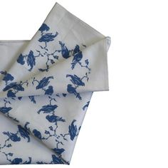 Linen union tea towel with chattering birds White Tea Towels, Wooden Hearts, Little Birds, Biodegradable Products, Special Gifts, Screen Printing, Apron, Things To Come, Blue And White