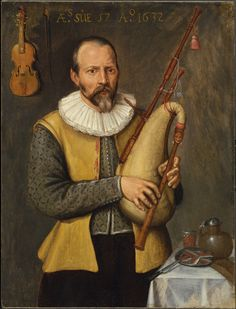 Musician Holding Bagpipes 1632 - Jerkin (garment) - Wikipedia Dutch musician wears a jerkin with ribbon points as fasteners, 1632 Renaissance Music, Medieval Music, School Portraits, Dutch Golden Age, Music Painting, 16th Century, Musical Instruments, Illustration, Images