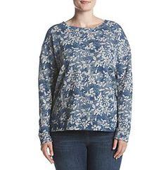 Ruff Hewn Plus Size High Low Floral Pattern Sweatshirt