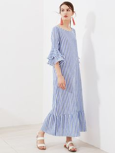 DIDK Blue Bell Sleeve Blue Striped Kaftan Dresses 2017 Women's Half Sleeve And Cotton Casual Dresses Autumn Loose Dresses Linen Dresses, Casual Dresses, Dresses With Sleeves, Summer Dresses, Maxi Dresses, Loose Dresses, Look Fashion, Hijab Fashion, Fashion Dresses