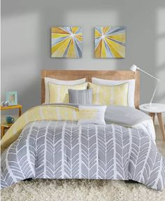 Shop for Intelligent Design Kennedy Yellow/ Grey Duvet Cover Set. Get free delivery at Overstock - Your Online Kids', Teen, & Dorm Bedding Store! Get in rewards with Club O! Yellow And Gray Comforter, Grey Comforter Sets, Grey Duvet, Duvet Sets, Duvet Cover Sets, Dorm Bedding Sets, Bedding Sets Online, My New Room, Bedroom Decor