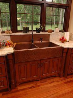 Farmhouse Sink. Extra-large version. Double bowl farmhouse sink
