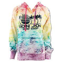 Ron Jon Rainbow Palm Tree Burnout Hoodie - Women, Fleece I love this! Ladies Design, Surf Clothes, Ron Jon Surf Shop, Surf Shack, Cocoa Beach, Sports Hoodies, Surf Outfit, Work Inspiration, Junior Outfits