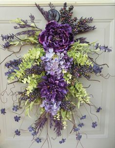 """Spring / Summer Grapevine swag wreath - """" Wild Lavender """"... Gorgeous for year round use. Spring wreaths on Etsy, $68.00"""