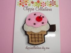 Ice cream cone felt hair clippie by clippiecollections