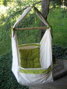 Happy Baby Hammock by aditijones on Etsy (This would be cool to hang inside too, or on a deck/porch) Baby Hammock, Hammock Swing, Hammock Chair, Hanging Chair, Hammocks, Garden Hammock, Chair Swing, Outdoor Spaces, Outdoor Living