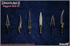 Dragon Age II: Daggers pack no. 2 by Berserker79 equipment gear magic item | Create your own roleplaying game material w/ RPG Bard: www.rpgbard.com | Writing inspiration for Dungeons and Dragons DND D&D Pathfinder PFRPG Warhammer 40k Star Wars Shadowrun Call of Cthulhu Lord of the Rings LoTR + d20 fantasy science fiction scifi horror design | Not Trusty Sword art: click artwork for source