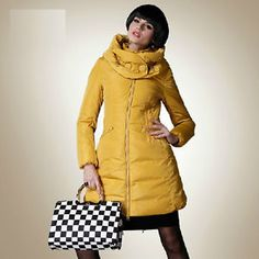 SEXY DOUBLE BUCKLE STAND COLLAR NEW WOMEN'S LONG DOWN JACKET SLIM PARKA PUFFER