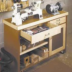 mini-lathe stand woodworking project plan