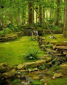 moss and stone garden Shade Garden, Forest Garden, Garden Path, Garden Stream, Garden Oasis, Woodland Garden, Garden Stones, Garden Ideas, Dream Garden