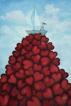 Whatever floats your boat by Amanda Cass Tom Bagshaw, Float Your Boat, I Love Heart, Rise Above, Heart Art, Whimsical Art, Art Boards, Heart Shapes, Amanda