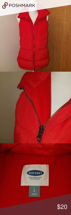 Red Puffer Vest NWOT. Bright cheery red. Perfect for the holidays. Fleece lined bodice and pockets for warmth and added coziness. Classic vest. Old Navy Jackets & Coats Vests