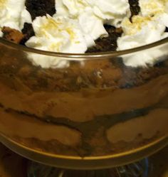 Chocolate Mousse, Salted Caramel Trifle Lucious enough to take a swim in!