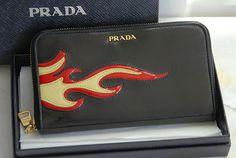 Prada Flame Patchwork Leather Round Zip Clutch Wallet Black | eBay