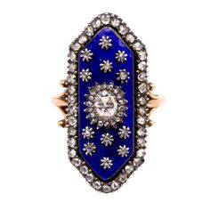 Antique Blue Enamel Rose Diamond Ring. A Georgian rose diamond and blue enamel ring of elongated hexagonal design with scrolled shoulders, in 15k. Circa 1820