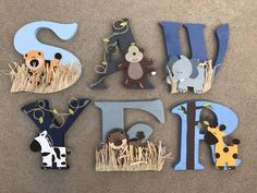Disney Letters, Baby Letters, Letters For Kids, Painted Letters, Wood Letters, Monogram Letters, Elephant Zoo, Murals For Kids, Arte Country