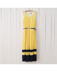 Indressme | Yellow round neck sleeveless pleated splice chiffon dress style 13071502503 only $30.33 in Dresses.