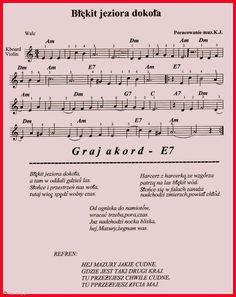 Błękit jeziora dokoła Polish Music, Est, Music Notes, Amalfi, Ukulele, Flute, Sheet Music, Folk, Violin