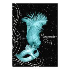 """Negro elegante y fiesta azul de la mascarada del invitación 5"""" x 7"""""""