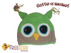 Cappellino Gufo. 6-12 mesi. www.freebirdbabyshop.com