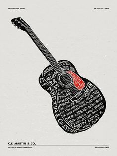 Creative Typography, Martin, Guitars, and Guitar image ideas & inspiration on Designspiration Guitar Patterns, Anniversary Logo, Guitar Pics, Cool Posters, Music Posters, Concert Posters, Music Gifts, Letter Art, Graphic Design Illustration