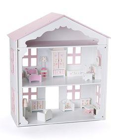 Pink & White Wooden Dollhouse by Rosalina #zulily #zulilyfinds