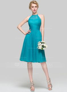 A-Line/Princess Scoop Neck Knee-Length Ruffle Zipper Up Spaghetti Straps Sleeveless No Jade Spring Summer Fall General Plus Tulle Bridesmaid Dress