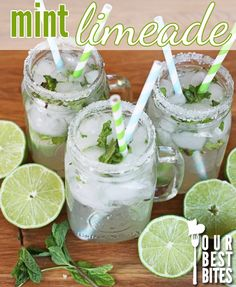 Cafe Rio copycat mint limeade recipe from Our Best Bites Mint Limeade Recipe, Non Alcoholic Drinks, Beverages, Drinks Alcohol Recipes, Cold Drinks, Smoothie Drinks, Limeade Drinks, Smoothies, Yummy Drinks