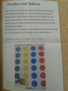 Meervoudige intelligentie. Beweegknap en taalknap. Twister met letters